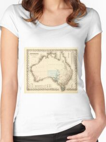 MAP of MYSTERIOUS AUSTRALIA  c. 1850 Women's Fitted Scoop T-Shirt