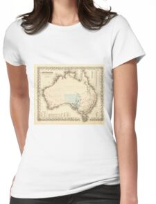 MAP of MYSTERIOUS AUSTRALIA  c. 1850 Womens Fitted T-Shirt