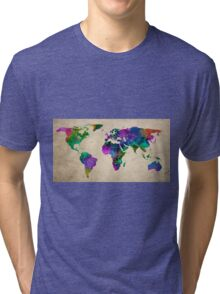 MAP of the WORLD ANTIQUE Tri-blend T-Shirt