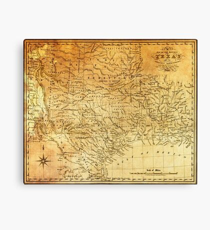 MAP of the REPUBLIC of TEXAS 1841 Canvas Print