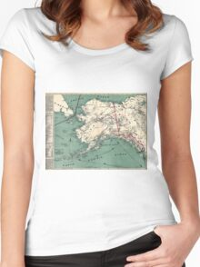 ALASKA GOLD RUSH SURVIVAL MAP/GUIDE  1897 Women's Fitted Scoop T-Shirt