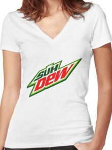SUH DUDE SUH DEW MOUNTAIN DEW Women's Fitted V-Neck T-Shirt