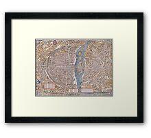 MEDIEVAL PARIS MAP c. 1555 Framed Print