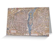 MEDIEVAL PARIS MAP c. 1555 Greeting Card