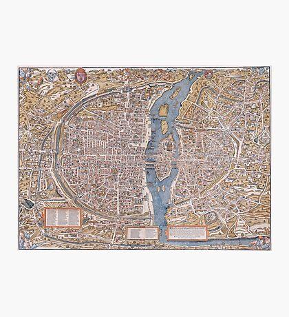 MEDIEVAL PARIS MAP c. 1555 Photographic Print