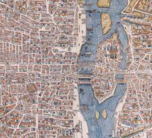 MEDIEVAL PARIS MAP c. 1555 Sticker