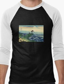 'Kajikazawa in the Kai Province' by Katsushika Hokusai (Reproduction) Men's Baseball ¾ T-Shirt