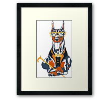 Hipster dog Doberman Pinscher Framed Print