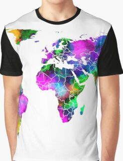 VIBRANT MAP of the WORLD Graphic T-Shirt