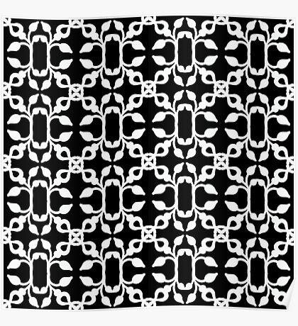 Modern Black And White Art Deco Pattern Poster