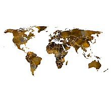MAP of the WORLD SEPIA TONED Photographic Print