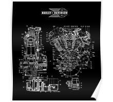 1942 HARLEY DAVIDSON KNUCKLEHEAD ENGINE DRAWING Poster