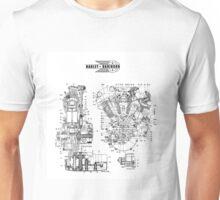 1942 KNUCKLEHEAD HARLEY DAVIDSON ENGINE DRAWING Unisex T-Shirt