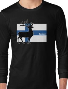 Suomi: Finnish Flag and Reindeer Long Sleeve T-Shirt