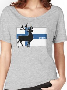 Suomi: Finnish Flag and Reindeer Women's Relaxed Fit T-Shirt