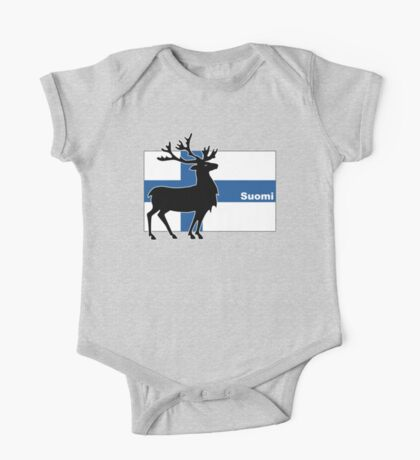 Suomi: Finnish Flag and Reindeer One Piece - Short Sleeve