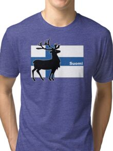Suomi: Finnish Flag and Reindeer Tri-blend T-Shirt