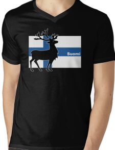 Suomi: Finnish Flag and Reindeer Mens V-Neck T-Shirt