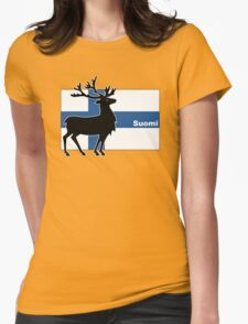 Suomi: Finnish Flag and Reindeer Womens Fitted T-Shirt