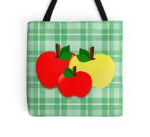 Red and Yellow Apples on Green Gingham Tote Bag
