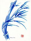 """""""Wind""""  blue sumi-e ink wash painting by Rebecca Rees"""