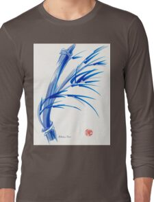 """""""Wind""""  blue sumi-e ink wash painting Long Sleeve T-Shirt"""