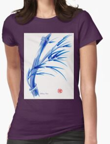 """""""Wind""""  blue sumi-e ink wash painting Womens Fitted T-Shirt"""