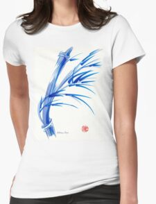 """Wind""  blue sumi-e ink wash painting Womens Fitted T-Shirt"