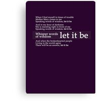 Beatles - Let It Be Lyrics Canvas Print