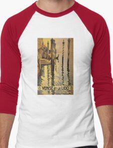 'Venise Et Le Lido' Vintage Travel Poster Men's Baseball ¾ T-Shirt