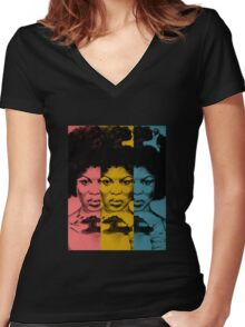 Afro Woman Women's Fitted V-Neck T-Shirt