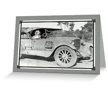 Black and white photo of Dachshund in old car. Greeting Card
