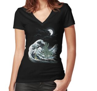 'The Wave Off  R'lyeh ' Women's Fitted V-Neck T-Shirt by SamielLair