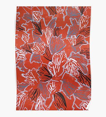 Leaves Red Black White Gray Poster