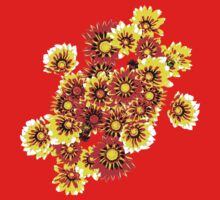 Gazanias in Red and Yellow Transparent Background One Piece - Short Sleeve