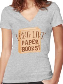 LONG LIVE paper books Women's Fitted V-Neck T-Shirt