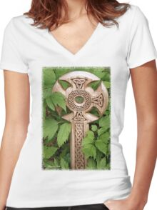 A Celtic Cross for St Patrick's Day Women's Fitted V-Neck T-Shirt