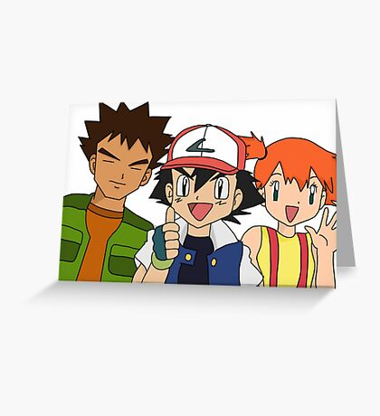 Pokemon Ash Brock and Misty Greeting Card