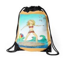 Surfing Girl I Know Drawstring Bag