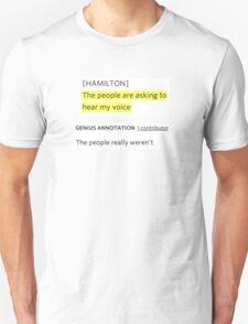 Hamilton rap genius note Unisex T-Shirt
