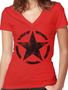 Star Stencil Vintage Decal Grunge Style Women's Fitted V-Neck T-Shirt