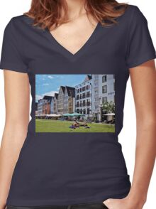 Leisure Time Women's Fitted V-Neck T-Shirt
