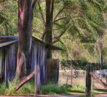 Old metal farm building in rural Queensland, Australia Sticker