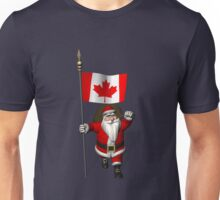 Santa Claus With Flag Of Canada Unisex T-Shirt