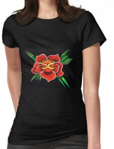 Rose with white Womens Fitted T-Shirt