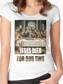 Jesus Died for our tins Women's Fitted Scoop T-Shirt