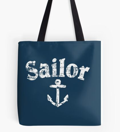 Sailor Anchor Vintage Sailing Design (White) Tote Bag