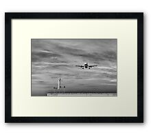 One minute before landing Framed Print