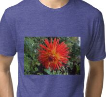Flower fire. Beautiful red flower in green leaves. Tri-blend T-Shirt