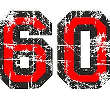 Number 60 Black/Red Vintage 60th Birthday Design by theshirtshops